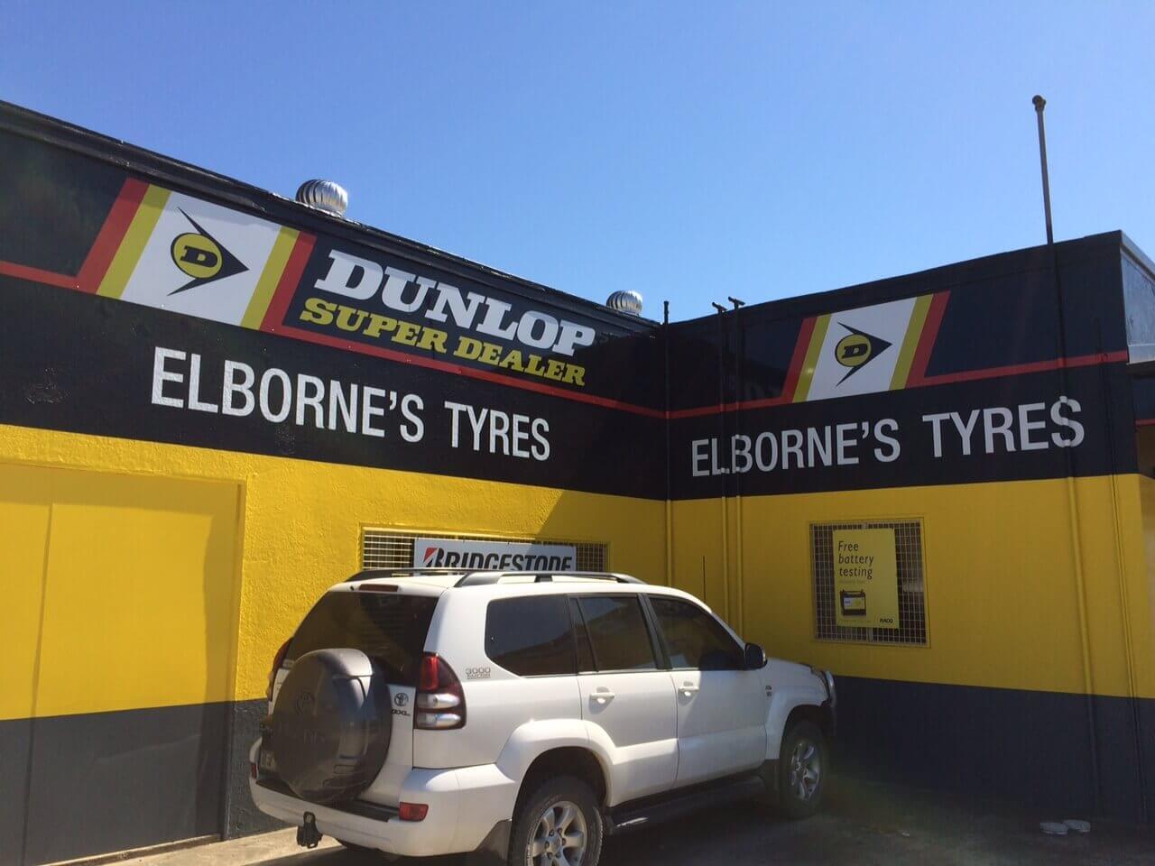 Elborne's Tyres shop front