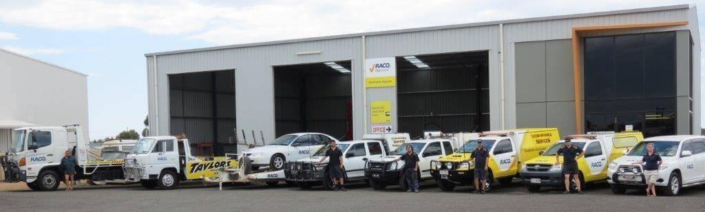 RACQ vehicles outside facility