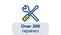 Over 300 repairers