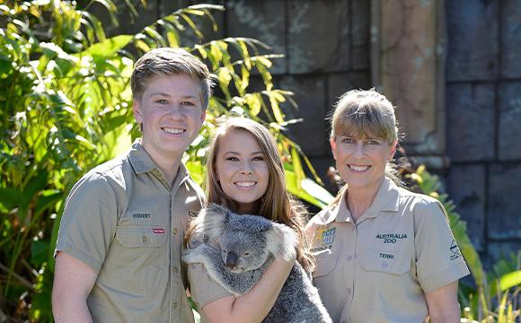 australia zoo irwin family holding a koala