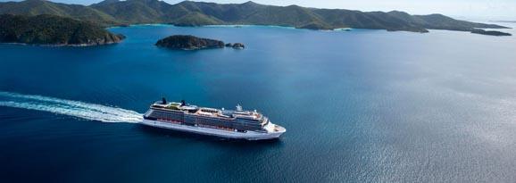 Cruise ship traveling through beautiful islands