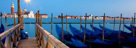Gondolas lined up in San Giorgio Maggiore, Venice