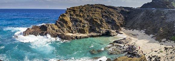 Halona Beach Cove in Oahu, Hawaii