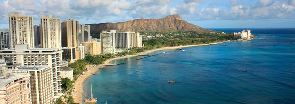 Hawaii beachfront and skyline