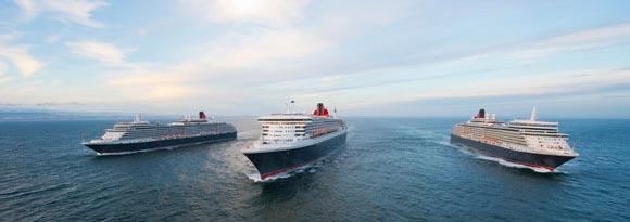 Three cruise ships cruising the ocean